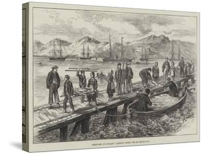 Sketches in Iceland, Landing Dried Cod at Reykjavik-L. Huard-Stretched Canvas Print