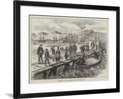 Sketches in Iceland, Landing Dried Cod at Reykjavik-L. Huard-Framed Giclee Print