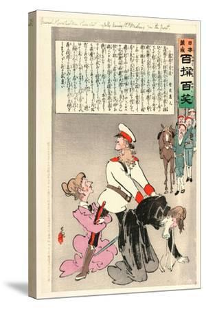 General Kuropatkin and His Staff Joyfully Leaving St. Petersburg for the Front-Kobayashi Kiyochika-Stretched Canvas Print
