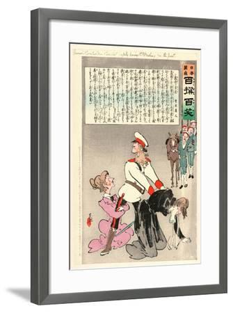 General Kuropatkin and His Staff Joyfully Leaving St. Petersburg for the Front-Kobayashi Kiyochika-Framed Giclee Print