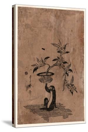 Saru No Hanaike Ni Biwa Monkey Holding a Potted Loquat. Utamaro Ii-Kitagawa II Utamaro-Stretched Canvas Print