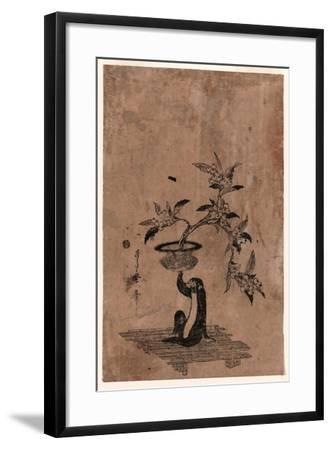 Saru No Hanaike Ni Biwa Monkey Holding a Potted Loquat. Utamaro Ii-Kitagawa II Utamaro-Framed Giclee Print