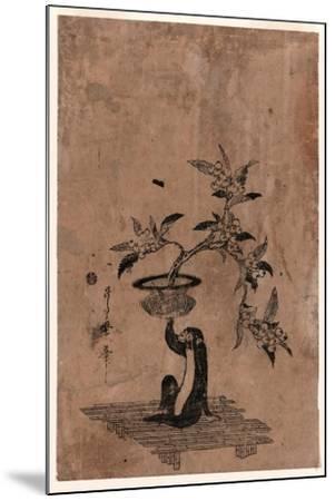 Saru No Hanaike Ni Biwa Monkey Holding a Potted Loquat. Utamaro Ii-Kitagawa II Utamaro-Mounted Giclee Print
