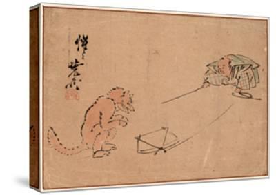 Tsuri Gitsune-Kawanabe Kyosai-Stretched Canvas Print