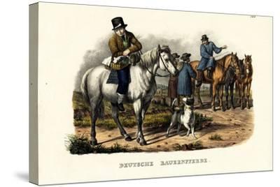 German Farm Horses, 1824-Karl Joseph Brodtmann-Stretched Canvas Print