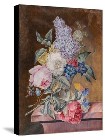 Vase of Flowers Including a Rose and Lilac on a Marble Ledge, 1841 (W/C and Bodycolour on Vellum)-Lucy de Beaurepaire-Stretched Canvas Print