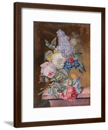 Vase of Flowers Including a Rose and Lilac on a Marble Ledge, 1841 (W/C and Bodycolour on Vellum)-Lucy de Beaurepaire-Framed Giclee Print