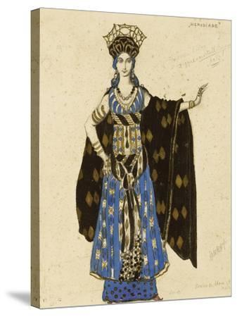 A Costume Design for 'Salome': Herodiade, (Pencil and Gouache, Heightened with Gold)-Leon Bakst-Stretched Canvas Print