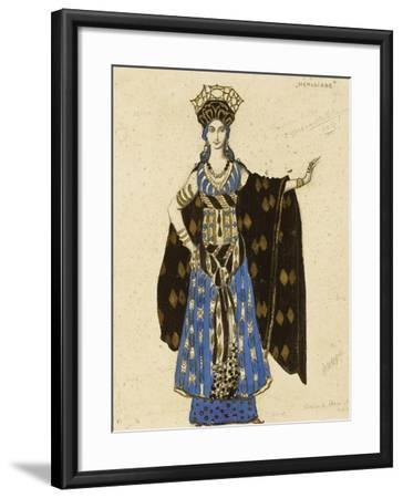 A Costume Design for 'Salome': Herodiade, (Pencil and Gouache, Heightened with Gold)-Leon Bakst-Framed Giclee Print