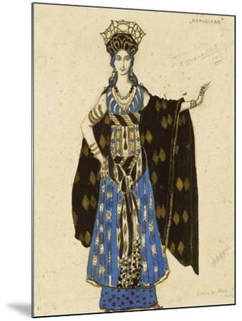 A Costume Design for 'Salome': Herodiade, (Pencil and Gouache, Heightened with Gold)-Leon Bakst-Mounted Giclee Print