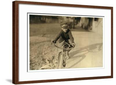 Curtin Hines Aged 14, Western Union Messenger for 6 Months, Houston, Texas, 1913-Lewis Wickes Hine-Framed Photographic Print