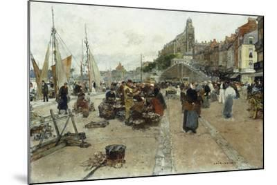 Marketplace by a Harbour-Luigi Loir-Mounted Giclee Print