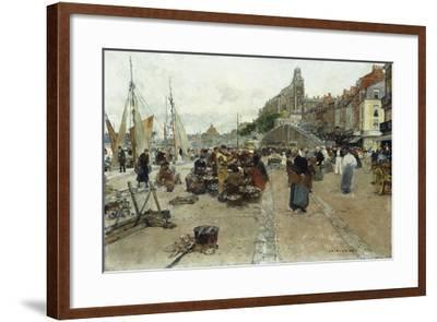 Marketplace by a Harbour-Luigi Loir-Framed Giclee Print