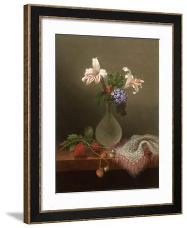 A Vase of Corn Lilies and Heliotrope, 1863-Martin Johnson Heade-Framed Giclee Print