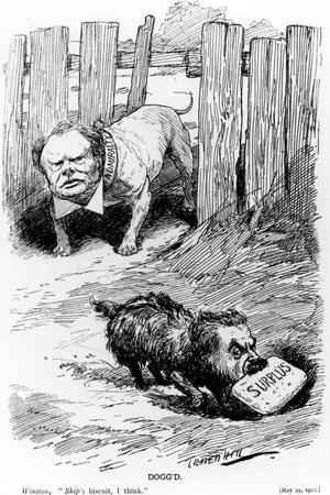 Dogg'D Taken from Punch Magazine, 1912-Leonard Raven-hill-Stretched Canvas Print
