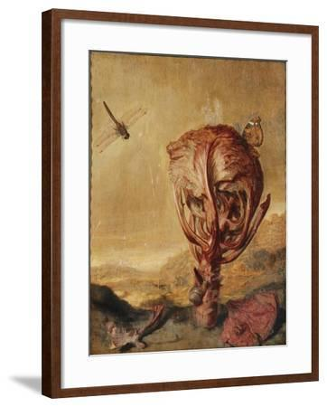A Red Cabbage, a Snail, a Butterfly, a Dragonfly, a Bee and a Wood Louse in a Landscape-Margarethe de Heer-Framed Giclee Print