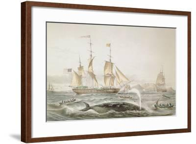 Whale Fishing, Published by E. Gambert and Co., 1853-Louis Lebreton-Framed Giclee Print