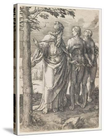 The Story of Adam and Eve: the First Prohibition, 1529-Lucas van Leyden-Stretched Canvas Print