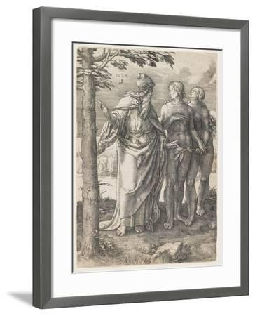 The Story of Adam and Eve: the First Prohibition, 1529-Lucas van Leyden-Framed Giclee Print