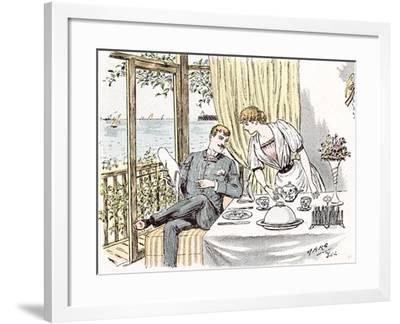 Wedding Anouncement in 1892 at the British Seaside-Maurice Charles Mathieu Bonvoisin-Framed Giclee Print
