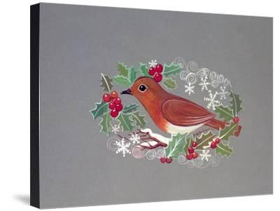 Robin with Snowflakes and Holly-Mike Alexander-Stretched Canvas Print
