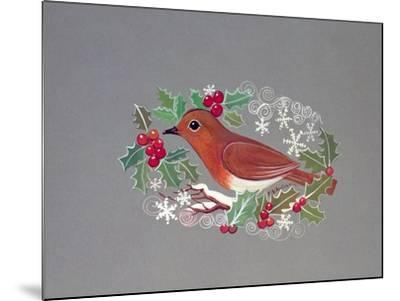 Robin with Snowflakes and Holly-Mike Alexander-Mounted Giclee Print