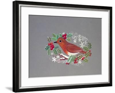 Robin with Snowflakes and Holly-Mike Alexander-Framed Giclee Print