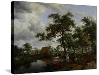 Wooded Landscape with Watermill, C.1665-Meindert Hobbema-Stretched Canvas Print