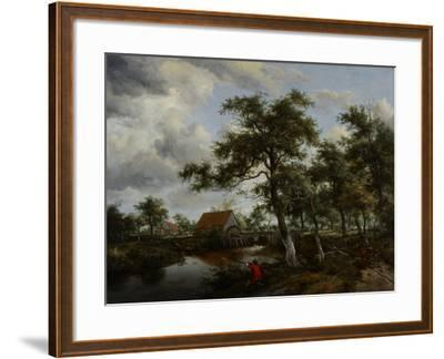 Wooded Landscape with Watermill, C.1665-Meindert Hobbema-Framed Giclee Print