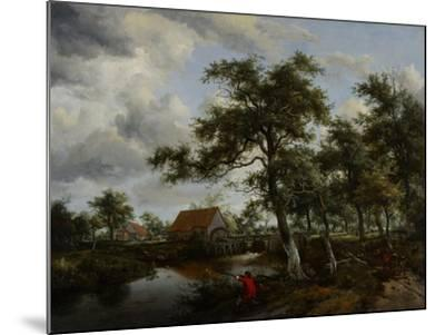 Wooded Landscape with Watermill, C.1665-Meindert Hobbema-Mounted Giclee Print