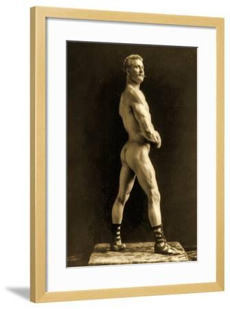 Eugen Sandow, in Classical Ancient Greco-Roman Pose, C.1893-Napoleon Sarony-Framed Photographic Print