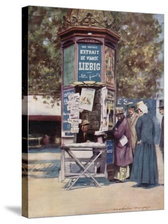 A Kiosque, Paris-Mortimer Ludington Menpes-Stretched Canvas Print