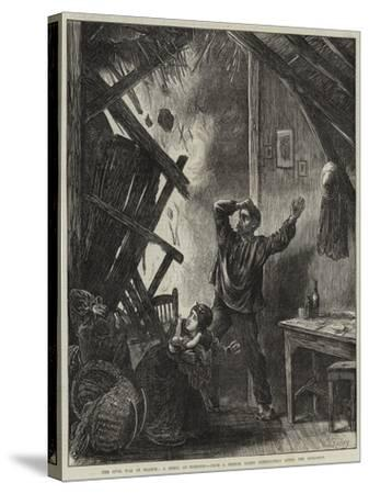 The Civil War in France, a Shell at Suresnes-Matthew White Ridley-Stretched Canvas Print