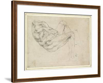 Study of a Recumbent Male Figure, Recto-Michelangelo Buonarroti-Framed Giclee Print