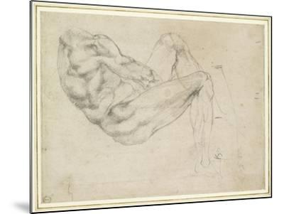 Study of a Recumbent Male Figure, Recto-Michelangelo Buonarroti-Mounted Giclee Print
