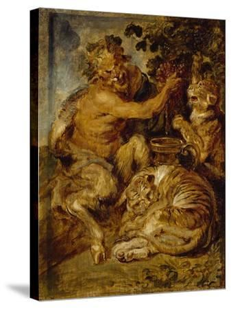 A Satyr Pressing Grapes with a Tiger and Leopard, C.1618-Peter Paul Rubens-Stretched Canvas Print