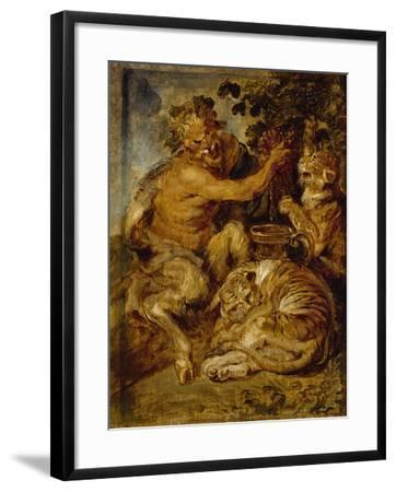 A Satyr Pressing Grapes with a Tiger and Leopard, C.1618-Peter Paul Rubens-Framed Giclee Print
