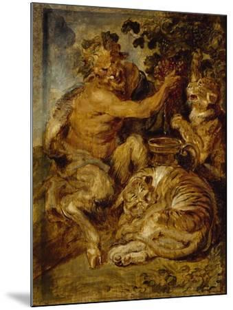 A Satyr Pressing Grapes with a Tiger and Leopard, C.1618-Peter Paul Rubens-Mounted Giclee Print