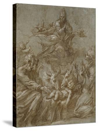 The Nativity of Christ (Pen and Brown Ink Washed in Grey and Heightened with White Bodycolour on Bl-Parmigianino-Stretched Canvas Print