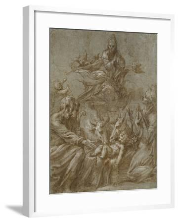 The Nativity of Christ (Pen and Brown Ink Washed in Grey and Heightened with White Bodycolour on Bl-Parmigianino-Framed Giclee Print