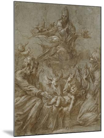 The Nativity of Christ (Pen and Brown Ink Washed in Grey and Heightened with White Bodycolour on Bl-Parmigianino-Mounted Giclee Print