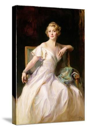 The White Dress - a Portrait of Joan Clarkson, 1935-Philip Alexius De Laszlo-Stretched Canvas Print