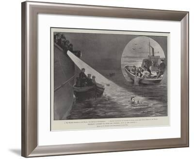 Holbein's Attempt to Swim the Channel, 31 July and 1 August-Paul Frenzeny-Framed Giclee Print