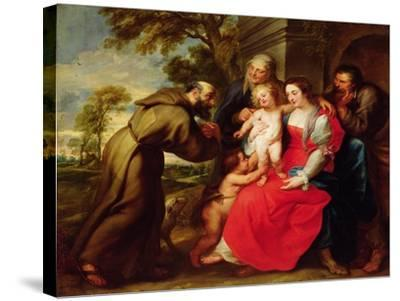 Holy Family with St. Francis, C.1625-Peter Paul Rubens-Stretched Canvas Print