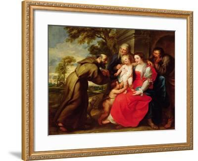 Holy Family with St. Francis, C.1625-Peter Paul Rubens-Framed Giclee Print