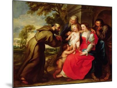 Holy Family with St. Francis, C.1625-Peter Paul Rubens-Mounted Giclee Print