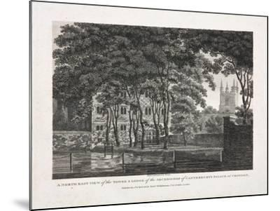 A North East View of the Tower and Lodge of the Archbishop of Canterbury's Palace at Croydon, 1808- Pouncy-Mounted Giclee Print