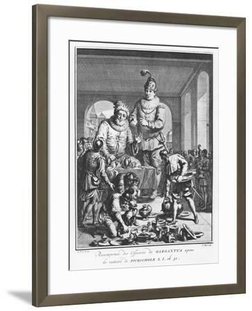 Gargantua Rewarding Officers after the Victory of Picrochole from 'The Life of Gargantua and Pantag-Pierre Tanje-Framed Giclee Print