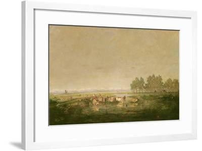 Marshland in Les Landes, C.1853-Pierre Etienne Theodore Rousseau-Framed Giclee Print