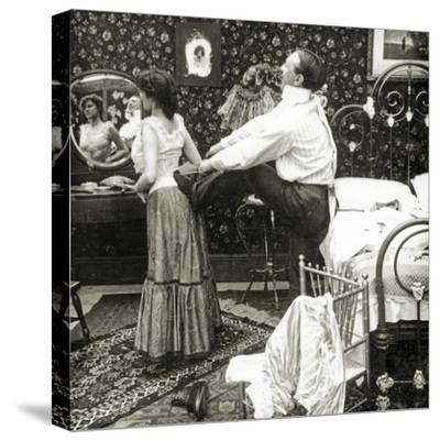 Stereoscopic Card Depicting a Woman Being Laced into a Corset-R.Y Young-Stretched Canvas Print